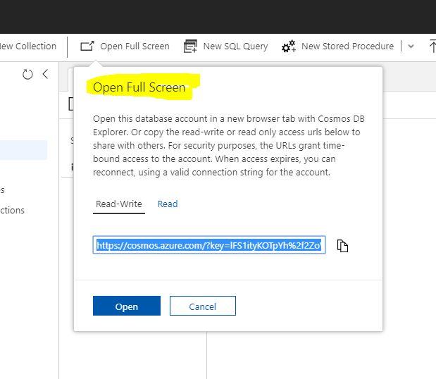 Azure CosmosDB Explorer - Open