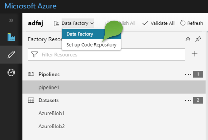 Code Repository for Azure Data Factory - Set up code repository