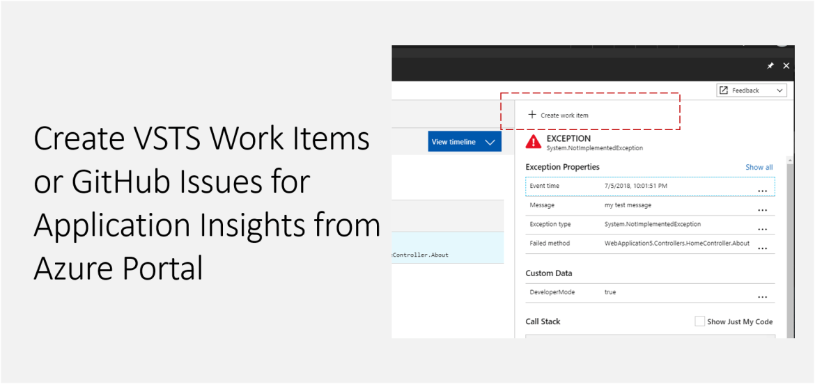 Create VSTS Work Items or GitHub Issues for Application Insights from Azure Portal