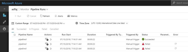 Monitor Azure Data Factory Pipeline