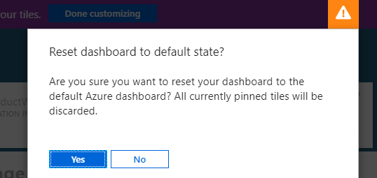 reset Azure Portal Dashboard to default state - Confirmation