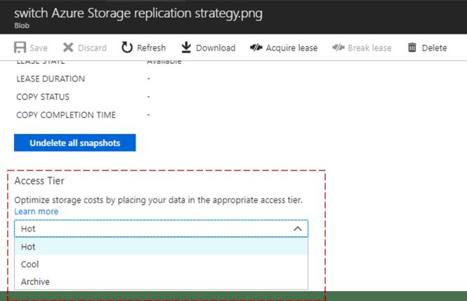 update Access Tier in Azure Storage Blob Level - Access Tier Azure Portal