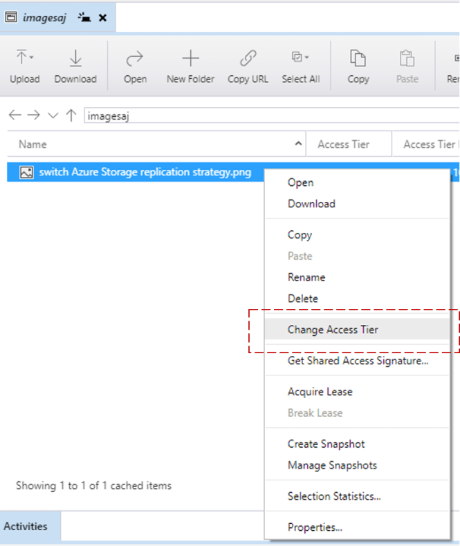 update Access Tier in Azure Storage Blob Level - Change Access Tier