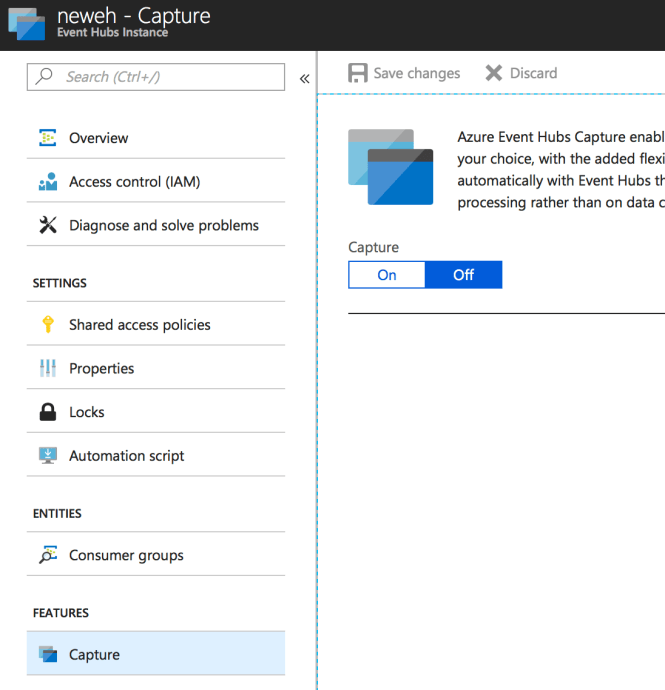 Azure Event Hubs - Catpture Enable