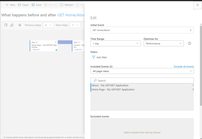 User Flows in Application Insights - Edit