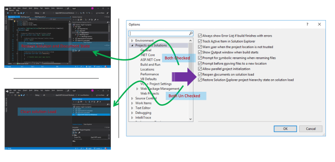 Restore Solution State and Clean State in Visual Studio 2019