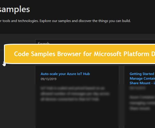 Code Samples Browser for Microsoft Platform Developers