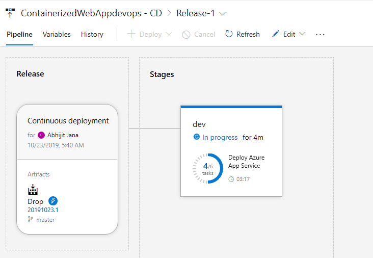 Setting up DevOps for Containerized Web Application using Azure DevOps Project - Pipeline