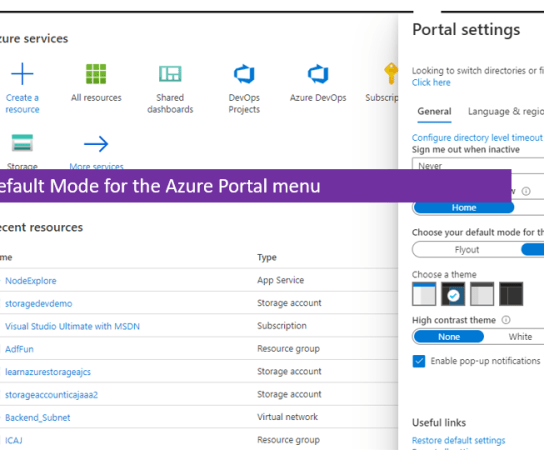 Choose Default Mode for the Azure Portal menu