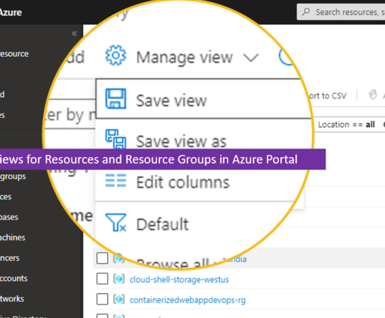 Manage Views for Resources and Resource Groups in Azure Portal