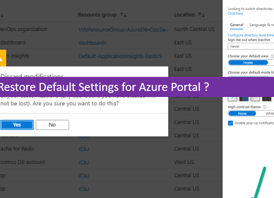 How to Restore Default Settings for Azure Portal?