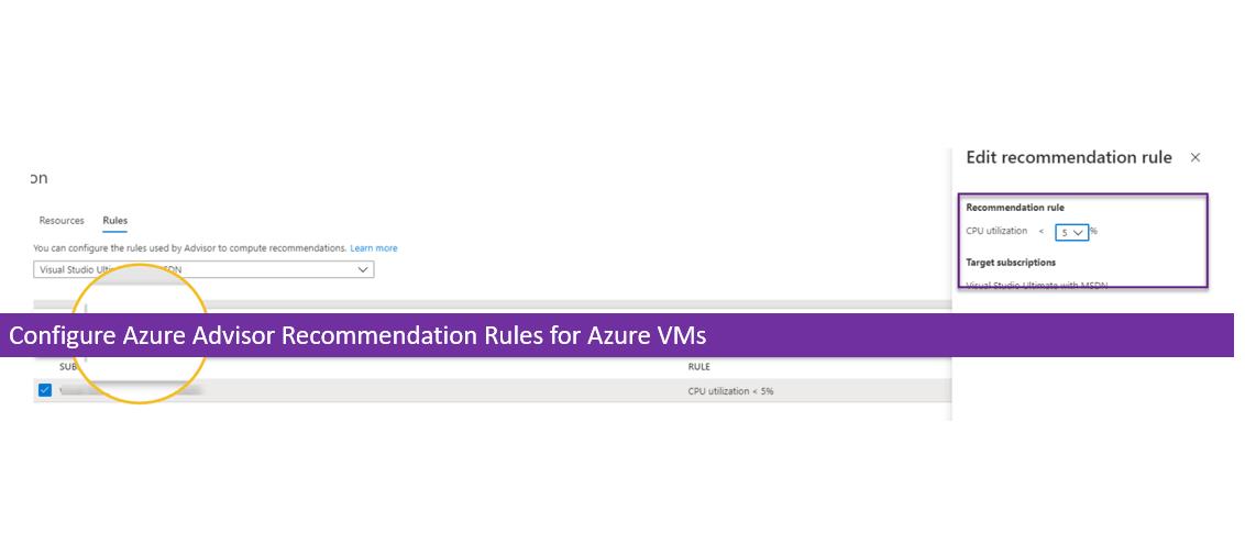 Configure Azure Advisor Recommendation Rules for Azure VMs