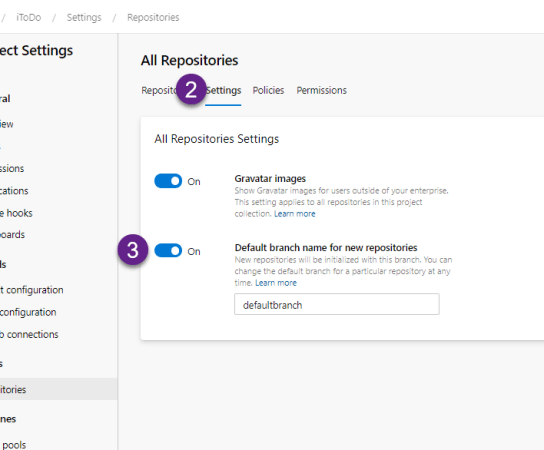 Default branch name for new repos in Azure DevOps