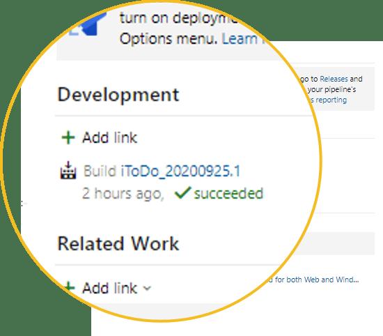 link azure devops existing build
