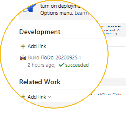 link azure devops existing build