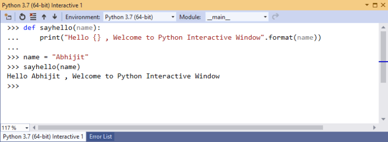 Execute Python Code in Interactive Window