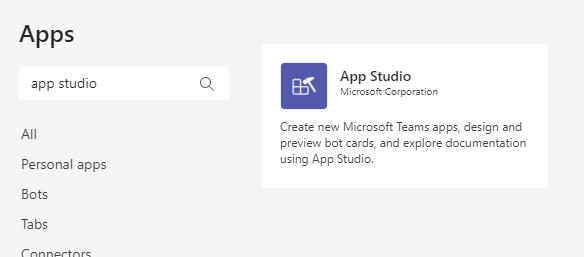 App Studio for Microsoft Team
