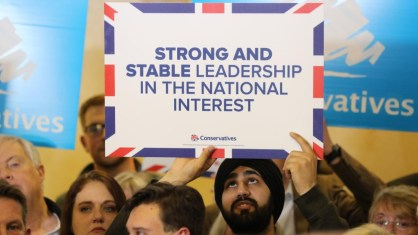Strong and stable leadership - placard