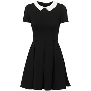 evita dress, black dress, black dress white collar, interview outfits