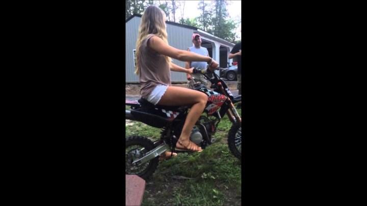 white girl dirt bike fail