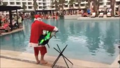 Surfing Santa in Cancun Mexico Pool Hotel Secrets JetSurf  New Extreme Sport Motorized boards
