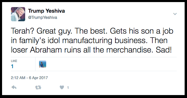 Trump Yeshiva tweets the story of Abraham