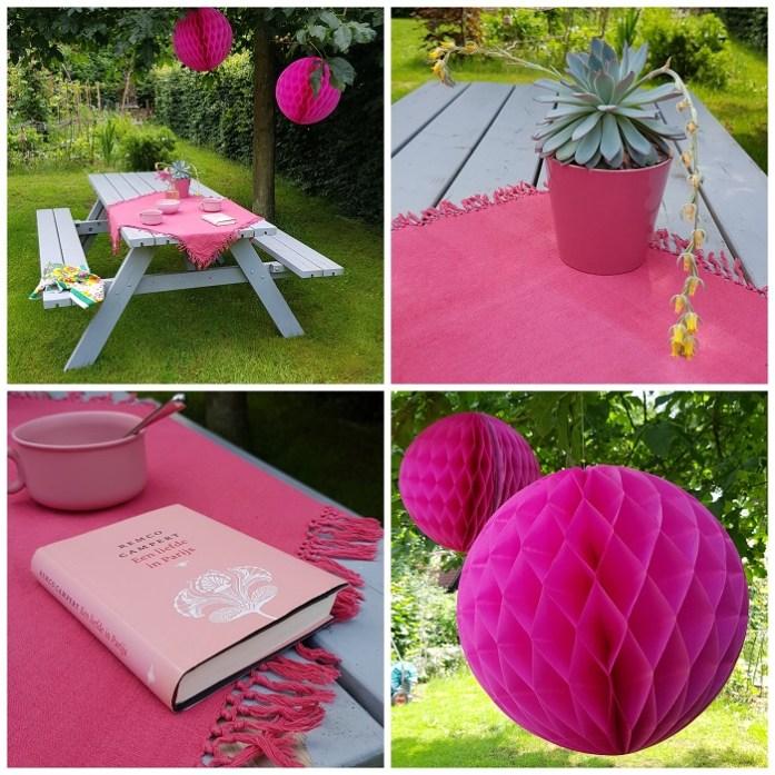 op vakantie in eigen tuin  - pink party