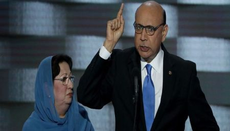 Khizr Khan speaks on the fourth day of the Democratic National Convention (Getty Images)