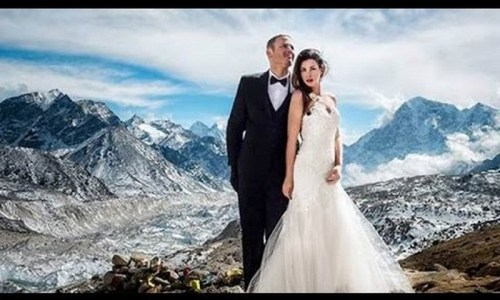 Couple's spectacular Mt. Everest wedding - photo credit - YouTube