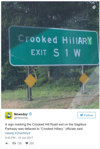 Crooked-Hillary-Street-Sign