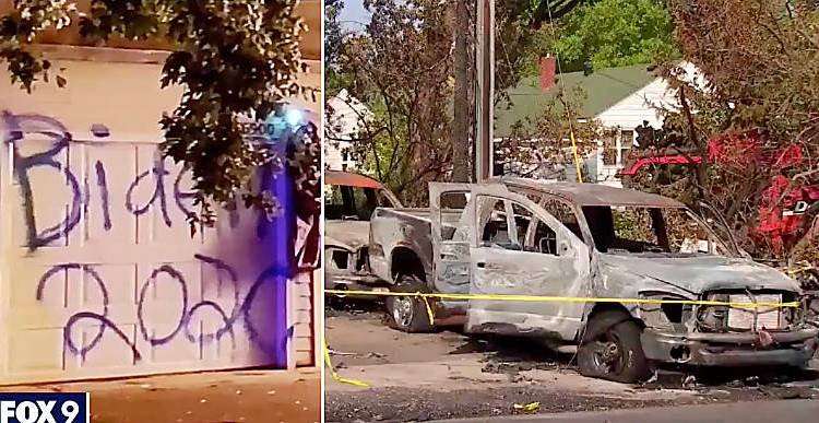 Trump supporters targeted, three cars and garage TORCHED and destroyed over Trump sign