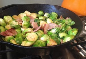 brussels-sprouts-and-bacon-fried-in-a-skillet
