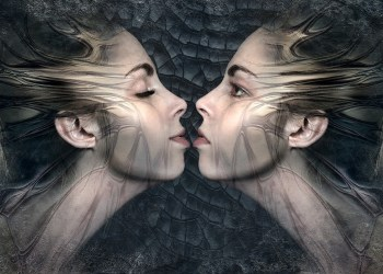 Kiss Beauty Twins Composing Sensual Woman Fantasy