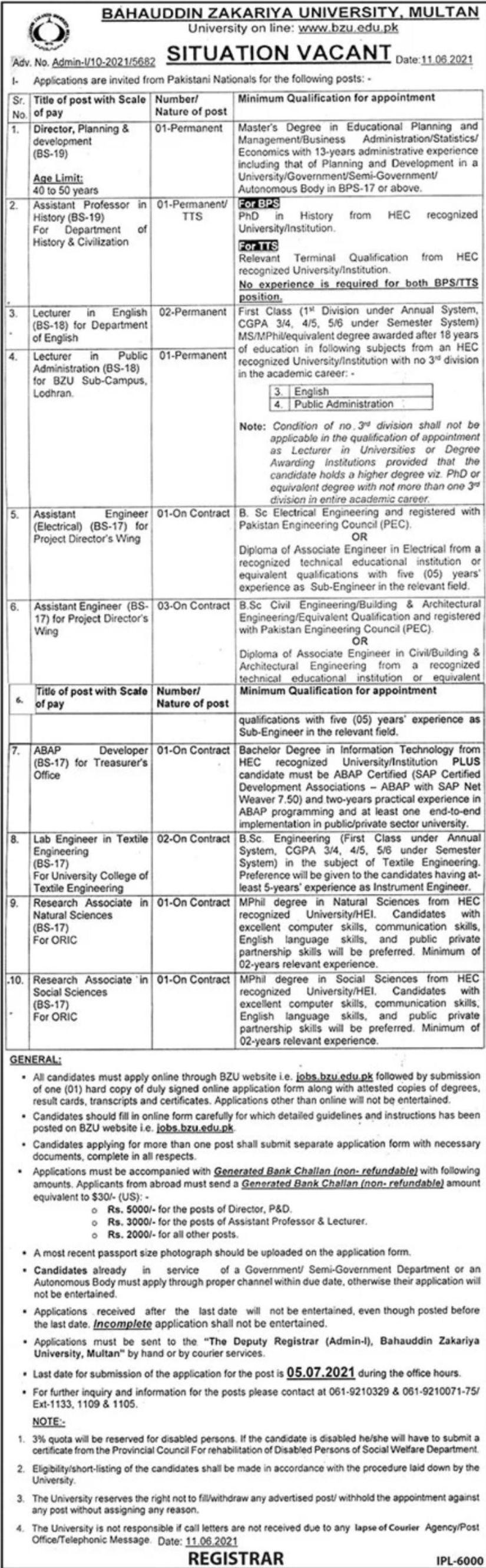 Govt University Jobs in Multan 2021