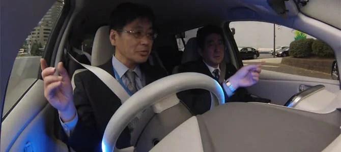 Look, Abe-san, no hands!