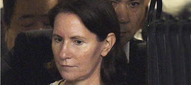 Julie Hamp after her release. Picture courtesy Kyodo News