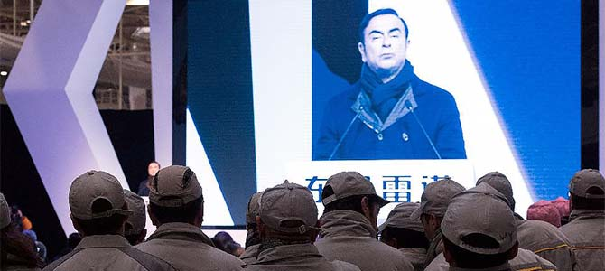 Ghosn in Wuhan - Picture courtesy Forbes