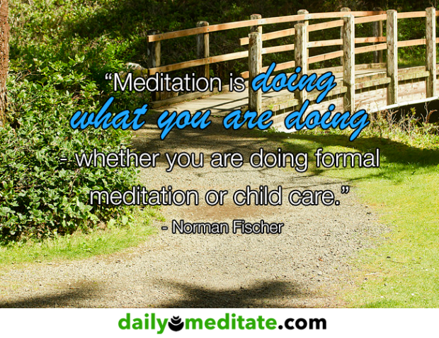 """""""Meditation is doing what you are doing – whether you are doing formal meditation or child care."""" – Norman Fischer"""