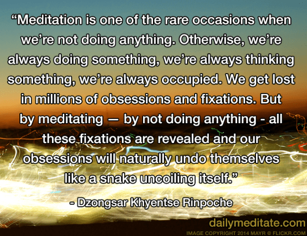 """""""Meditation is one of the rare occasions when we're not doing anything. Otherwise, we're always doing something, we're always thinking something, we're always occupied. We get lost in millions of obsessions and fixations. But by meditating —by not doing anything - all these fixations are revealed and our obsessions will naturally undo themselves like a snake uncoiling itself."""" - Dzongsar Khyentse Rinpoche"""