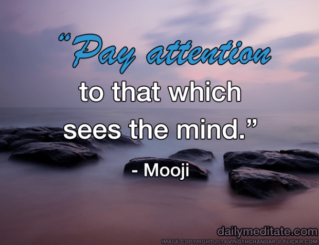 """""""Pay attention to that which sees the mind."""" - Mooji"""