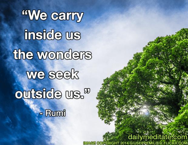 """""""We carry inside us the wonders we seek outside us."""" – Rumi"""