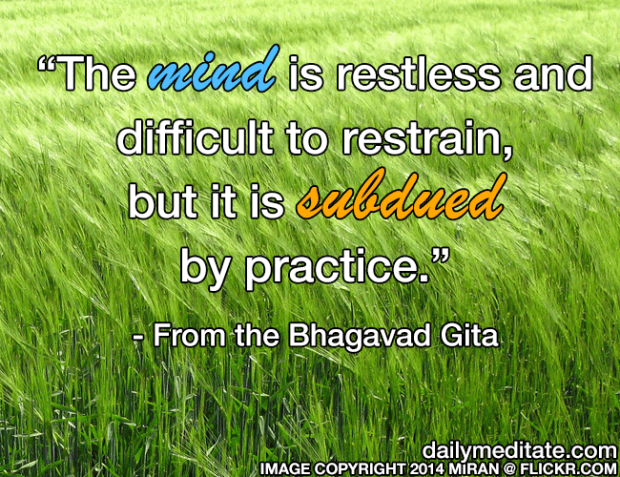 """The mind is restless and difficult to restrain, but it is subdued by practice."" - From the Bhagavad Gita"