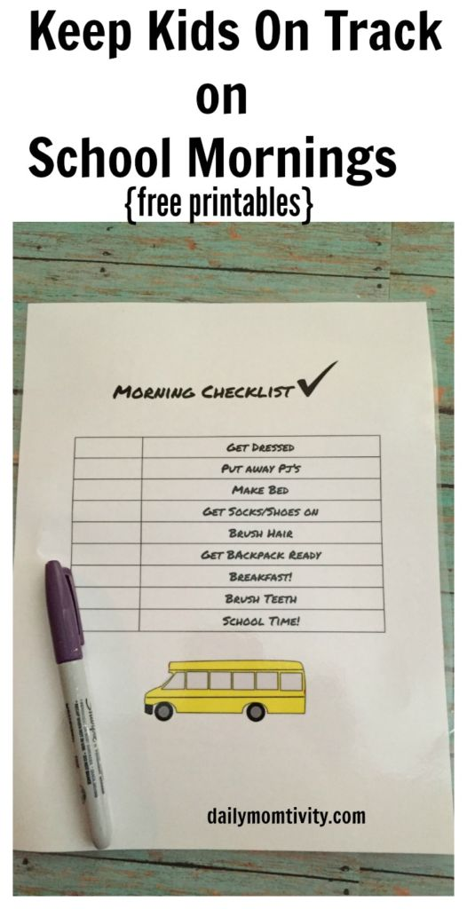 School Mornings Check list, free printables for kids