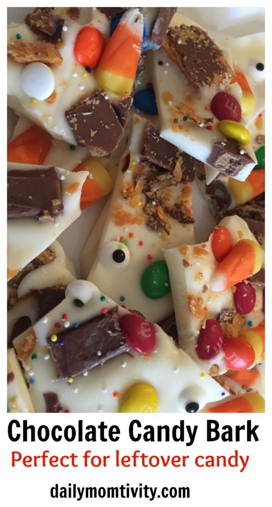 Got leftover candy? Make this white chocolate candy bark! It's perfect to freeze and later on.