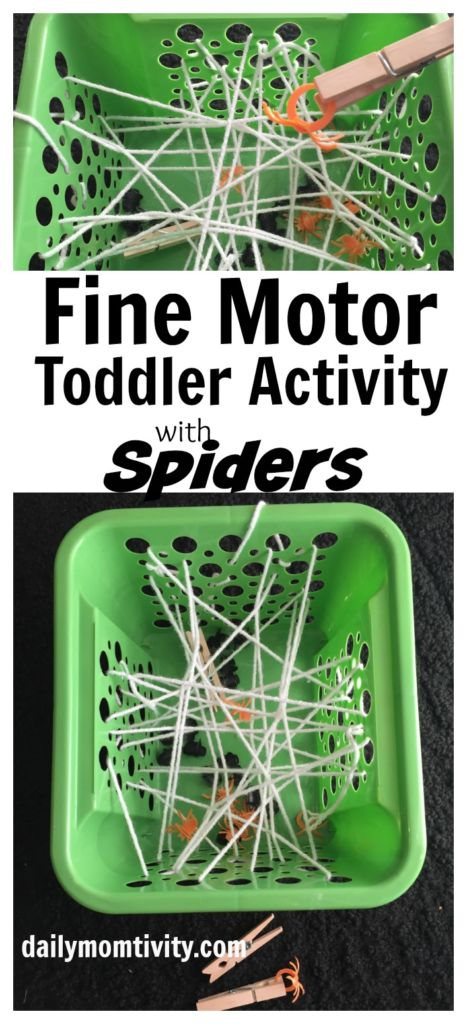 Fine Motor Spider Activity that is great for Toddlers or Preschoolers! It's easy to put together and fun!