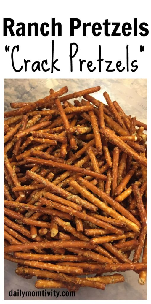 Pretzels covered in ranch dry seasoning. so good you will not be able to stop eating them!