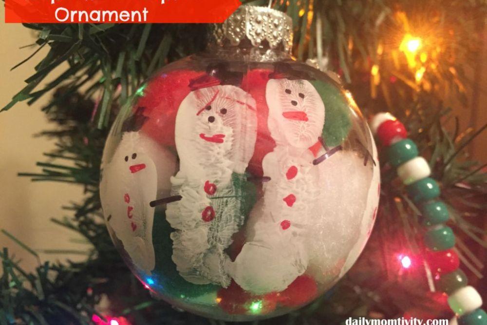 Keepsake Hand print Snowman Ornament