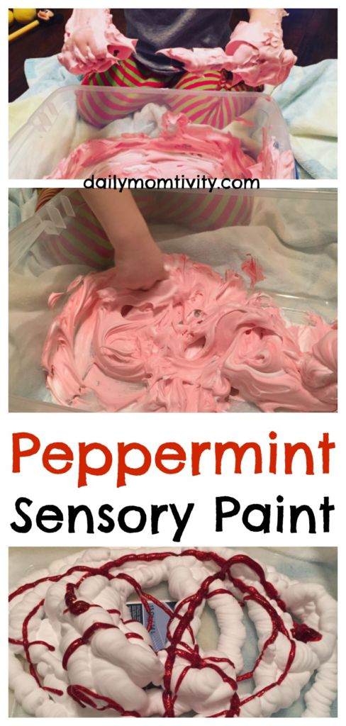 Peppermint Sensory Paint! So much fun for kids and smells great too.