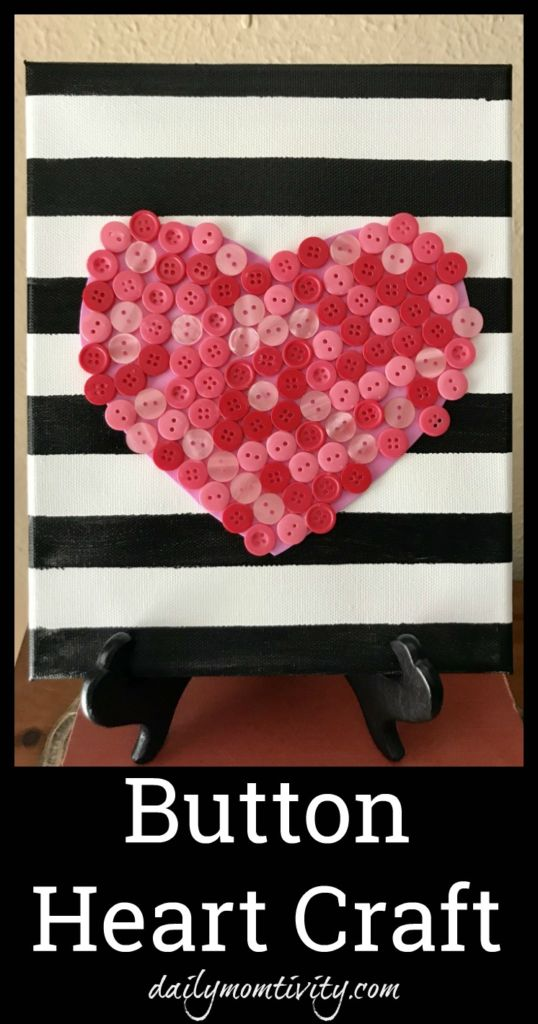 A cute and simple craft to make this Valentine's Day- Button Heart Craft