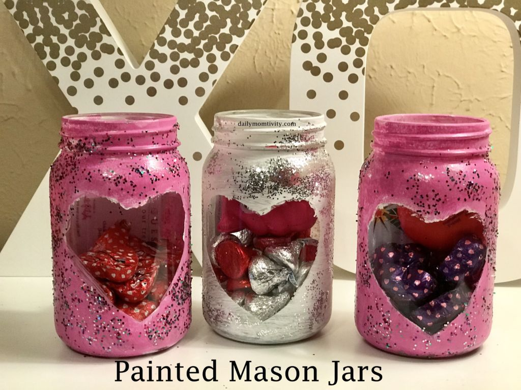 painted mason jars for Valentine's Day